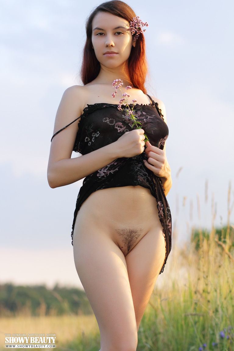 xusenet.pussy Cute long haired bombshell undressing and demonstrating naughty quim  outdoor in the field.