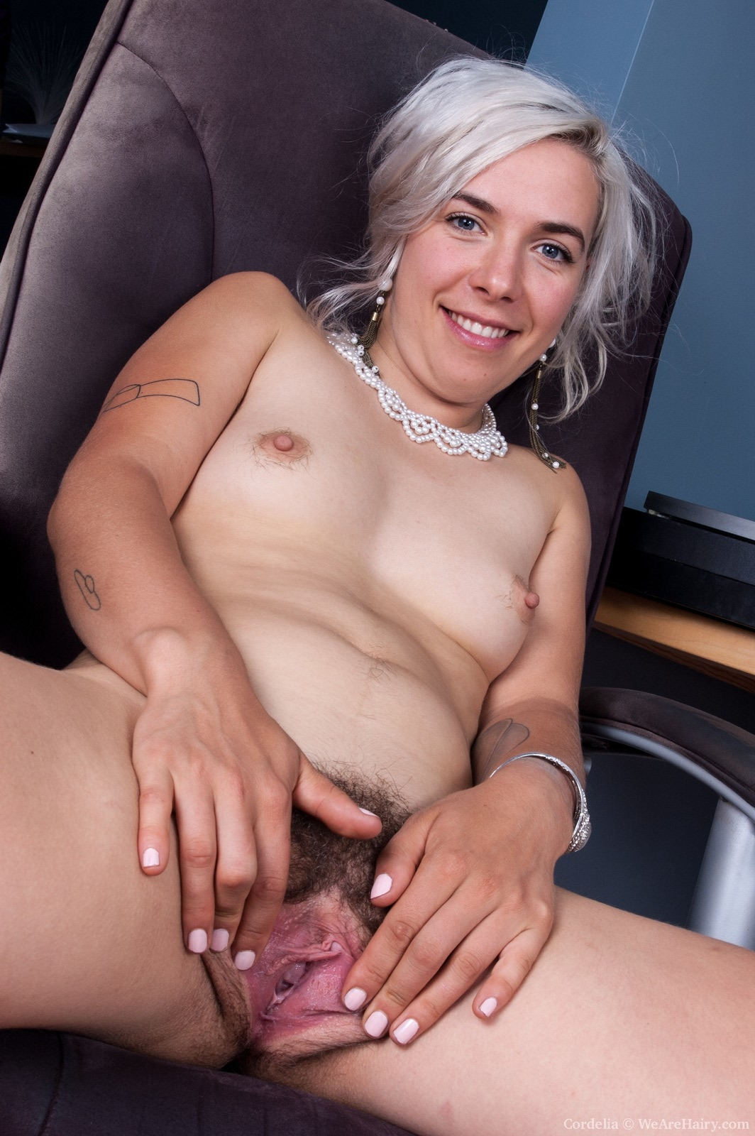 Girls show hairy pussy